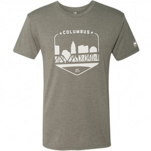 Columbus Ohio Grey Skyline Shield Retro Vintage T-Shirt