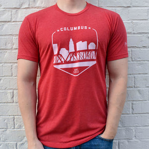 Columbus Ohio Red Skyline Shield Retro Vintage T-Shirt