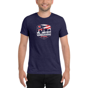 Columbus Ohio Flag Blue Skyline Shield Retro Vintage T-Shirt
