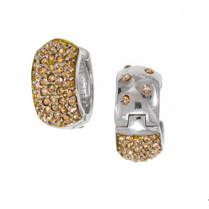 Large Reversable Huggies with Yellow Swarovski Crystals by Bobby Schandra