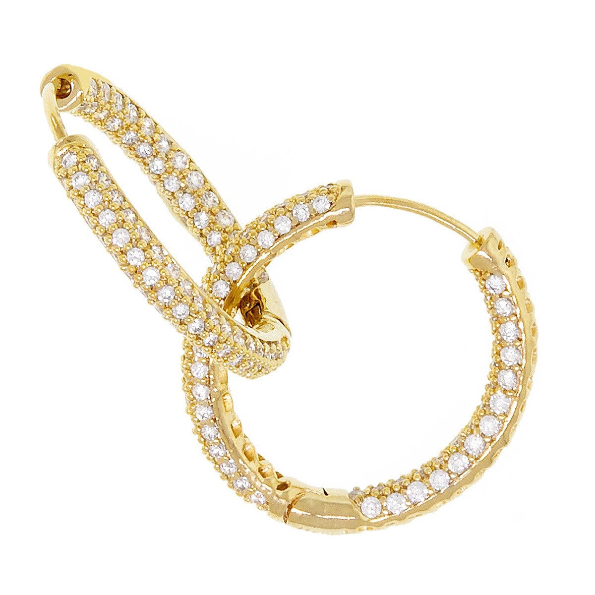 a43d498ae4c9e Large Gold Hoop with 3 rows CZ Sterling Silver Gold Plated Prong Set Inside  out