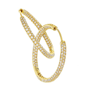 Large Gold Hoop w/ Round Chandi Diamonds by Bobby Schandra