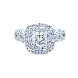 1K Round Chandi Diamond (CZ) Ring w/Braided Band & Double Halo by Bobby Schandra