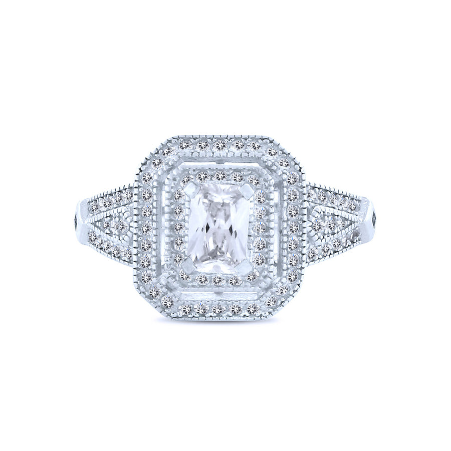 1K Rectangle Chandi Diamond with Double Halo by Bobby Schandra