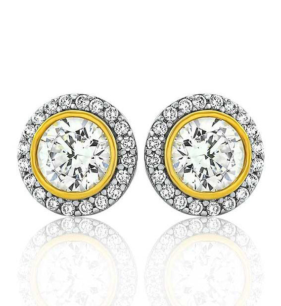 Two Tone Clasic Halo Studs (Silver Gold CZ)