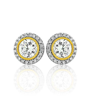 Two Tone Halo Studs (Silver Gold CZ)