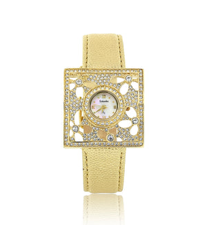 Gold Leather Swarovski Crystal Flower Designer Watch