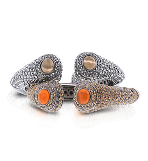 Silver or Bronze/Gold Swarovski Crystal Cuffs by Bobby Schandra