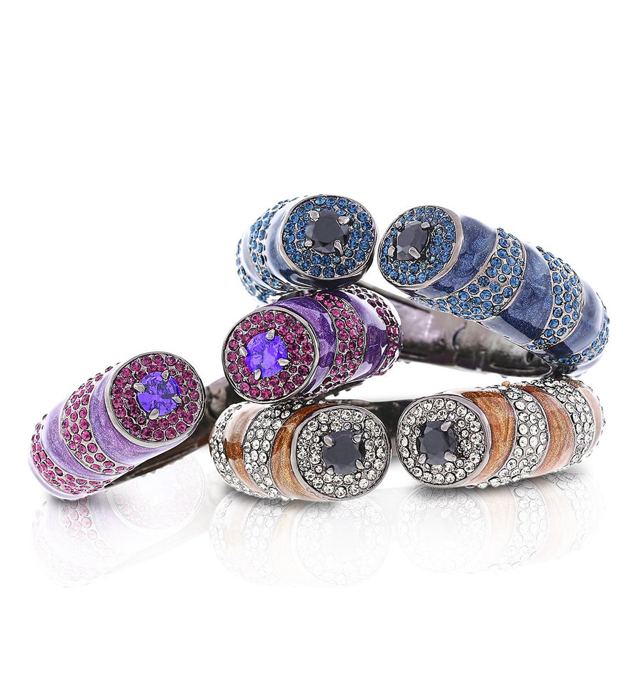 Navy, Purple or Bronze/Gray Tiger Striped Crystal Cuffs by Bobby Schandra