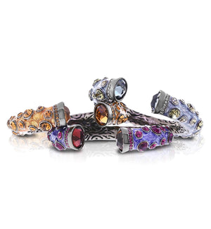 Amber, Purple or Light Purple Power Stone Cuff by Bobby Schandra