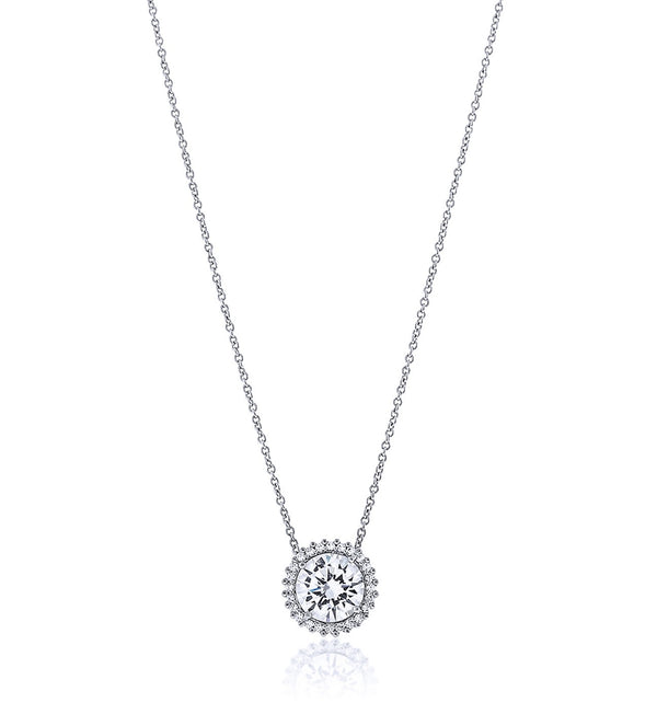 Center Stone Halo Chandi Diamond Pendant Necklace by Bobby Schandra