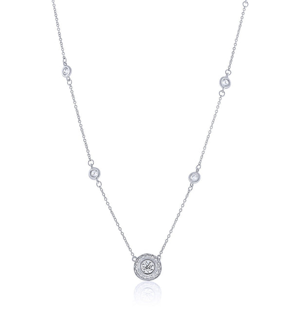 Chandi Diamond Pendant Necklance Adorned with Round Stones by the Yard by Bobby Schandra