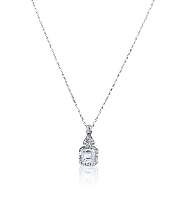 Chandi Diamond Princess Cut Pendant Necklace w/ Chandi Diamond Halo by Bobby Schandra