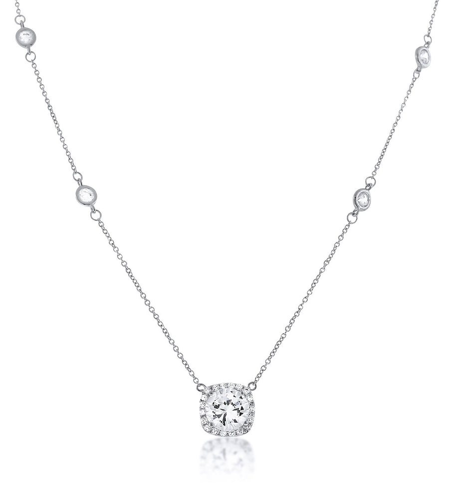 Chandi Diamond Pendant Necklance with Halo and  Adorned with Round Stones by the Yard by Bobby Schandra