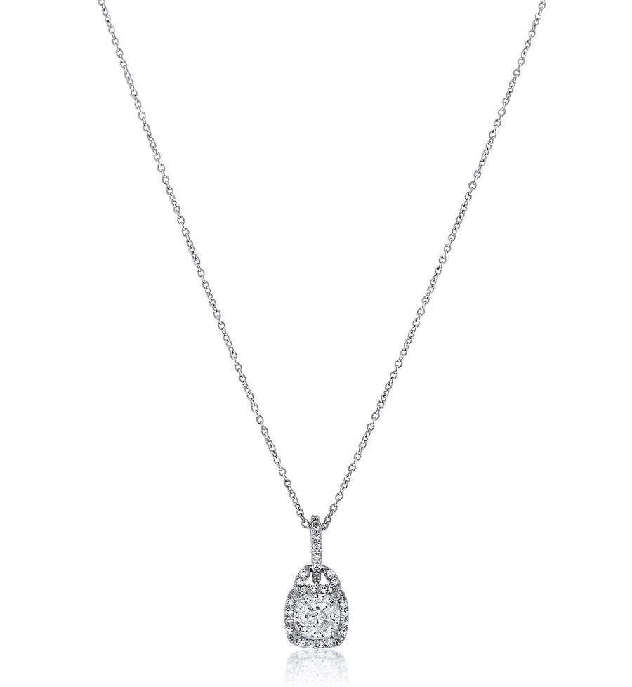 Chandi Diamond Halo Pendant Necklace with Square Center Stone by Bobby Schandra