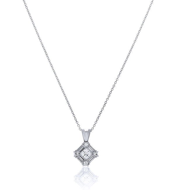 Chandi Diamond Halo Pendant Necklace by Bobby Schandra
