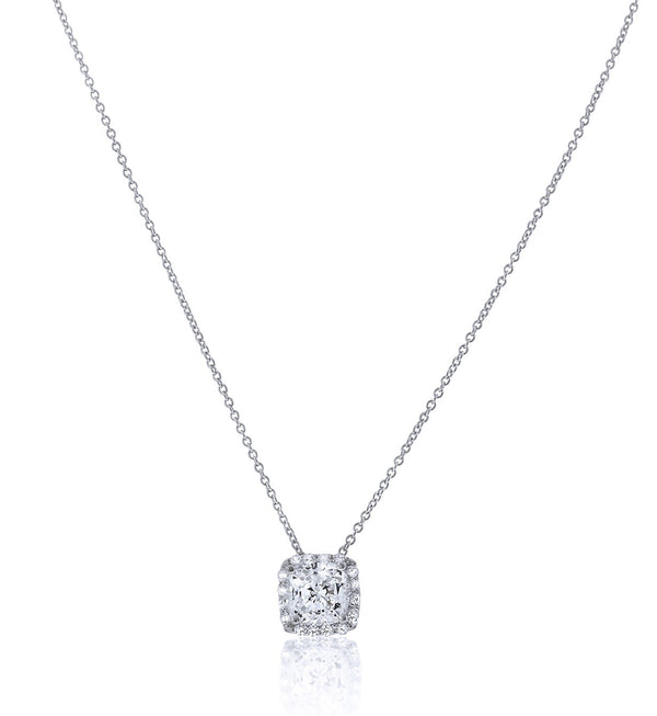 Chandi Diamond Square Pendant Necklace with Halo by Bobby Schandra