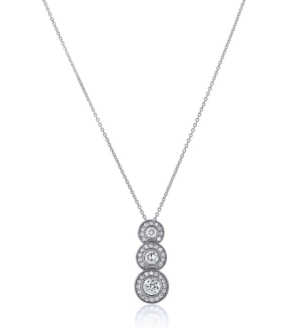 Vintage Inspired Chandi Diamond Trio Circlet Pendant Necklace by Bobby Schandra
