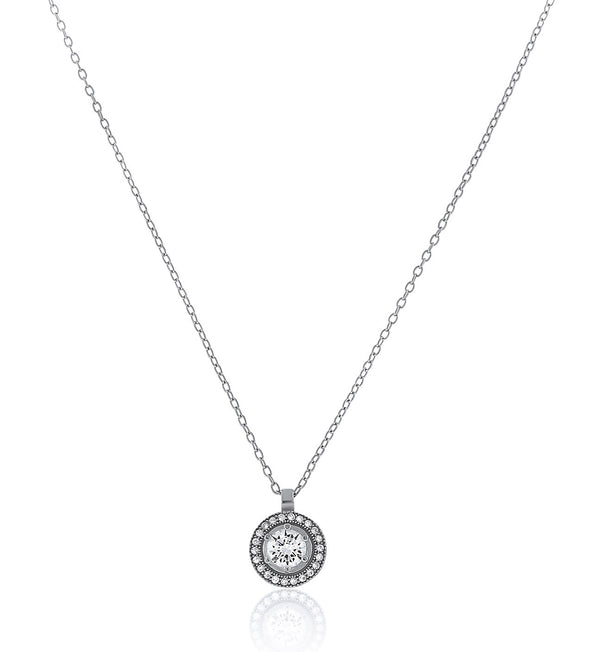 Circlet Mini CZ Halo Chandi Diamond Pendant Necklace by Bobby Schandra