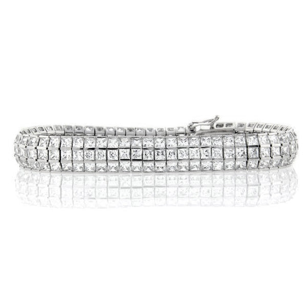 Chandi Diamond 3 Row Silver Square Tennis Bracelet by Bobby Schandra