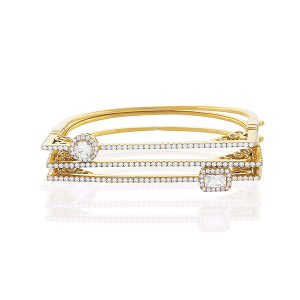 Chandi Diamond Gold Bangle Bracelet Set by Bobby Schandra
