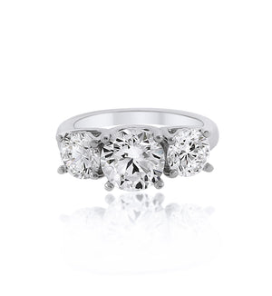 3 Stone Chandi Diamond Sterling Silver Ring by Bobby Schandra