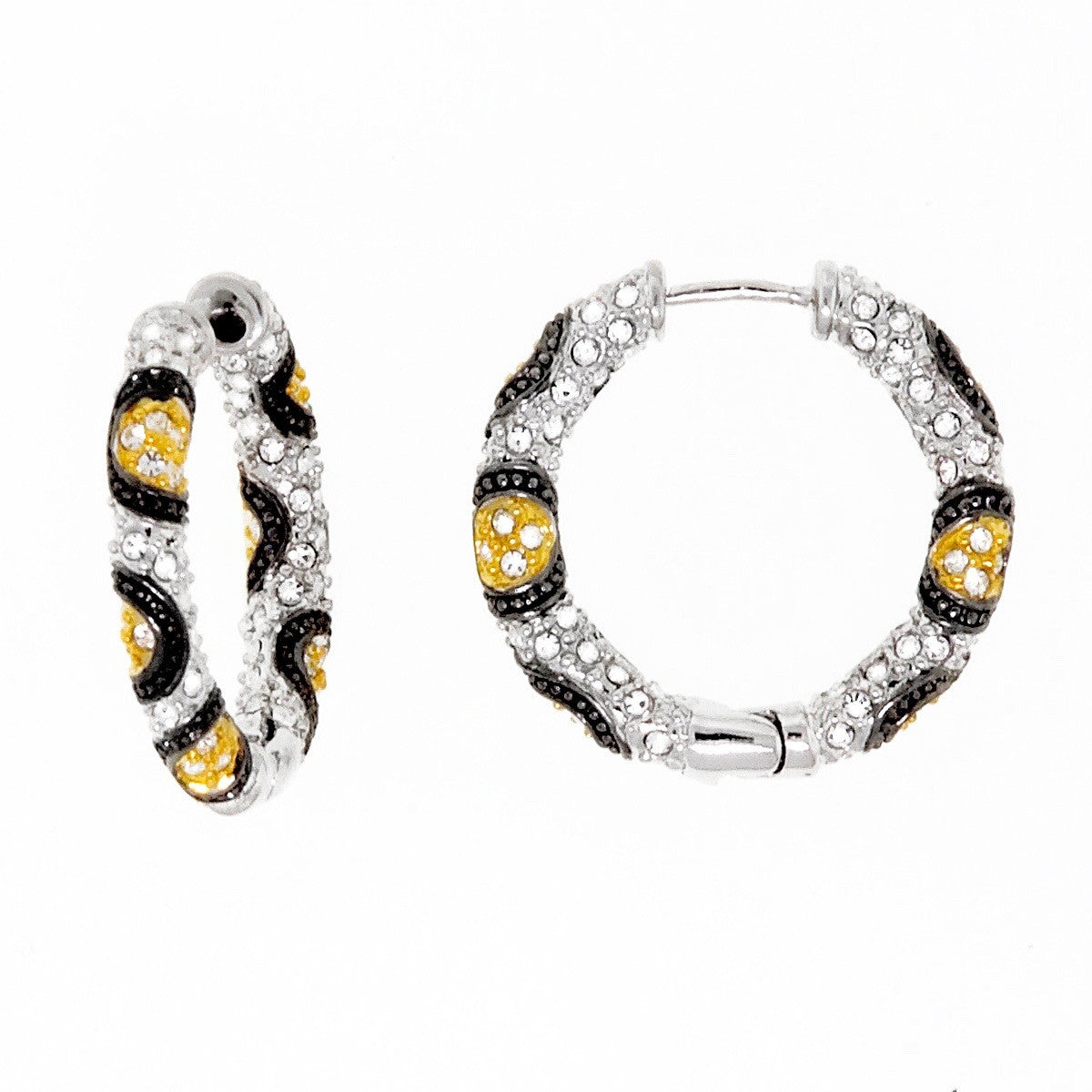 Gold, Black and Clear Swarovski Crystal Hoop Small Earring by Bobby ...