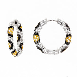 Gold, Black and Clear Swarovski Crystal Hoop Small Earring by Bobby Schandra