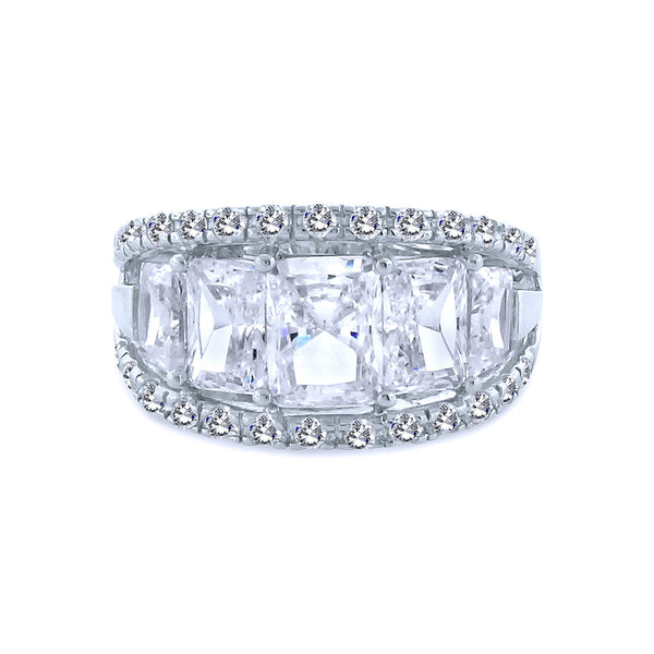 4 Baguette Chandi Diamond (CZ) w/Crystal Border by Bobby Schandra