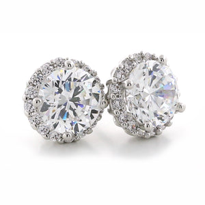 Silver Round Cubic Zirconia CZ halo stud earrings 6mm