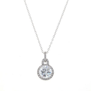 7 Carat Silver Round Chandi Diamond Pendant Necklace by Bobby Schandra