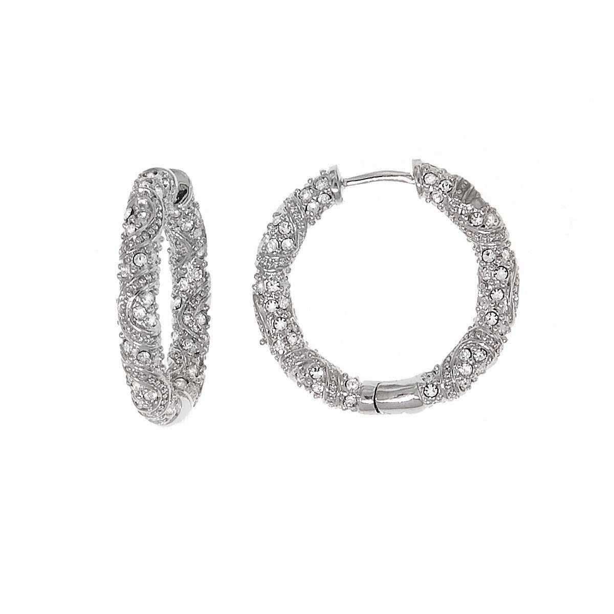 Swarovski Crystal Antique Style Small Hoop Earring by Bobby Schandra