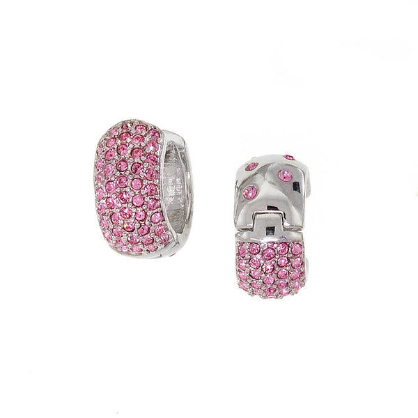 Small Reversable Huggies with Pink Swarovski Crystals by Bobby Schandra