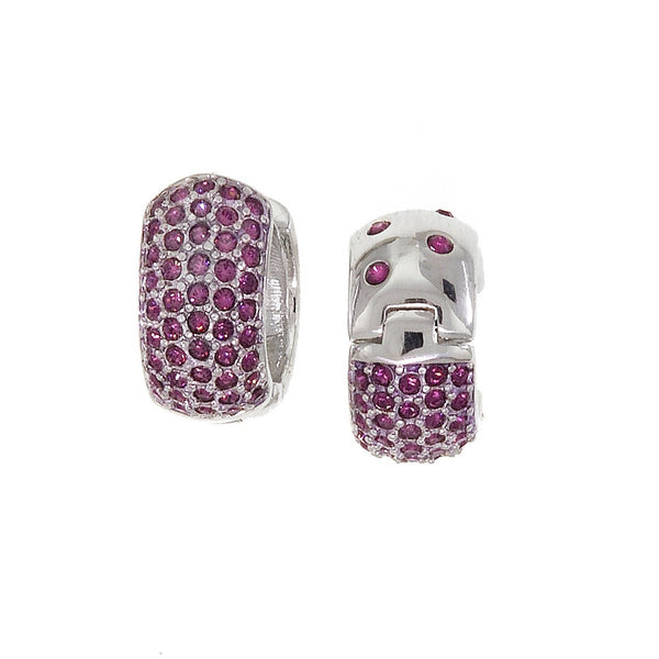Medium Reversable Huggies with Purple Swarovski Crystals by Bobby Schandra