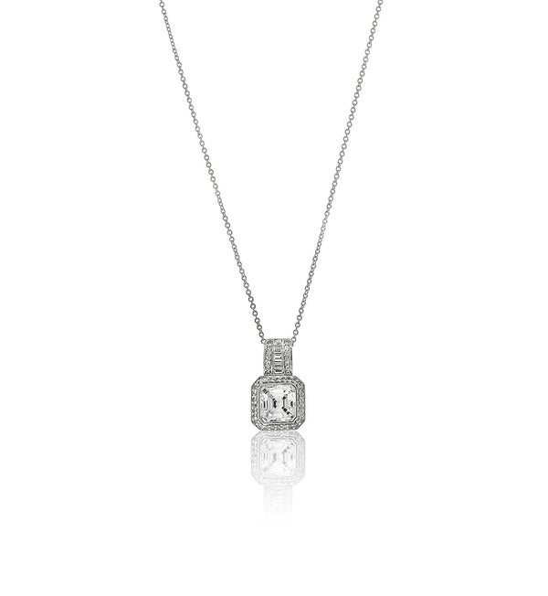 Asscher Cut Chandi Diamond Solitaire Pendant Necklace by Bobby Schandra