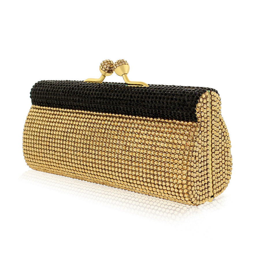 Black and Gold Swarovski Crystal Evening Clutch