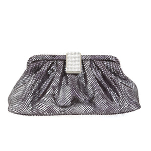Black and Silver Snake Skin Clutch w/ Swarovski Crystal Square Clasp by Bobby Schandra