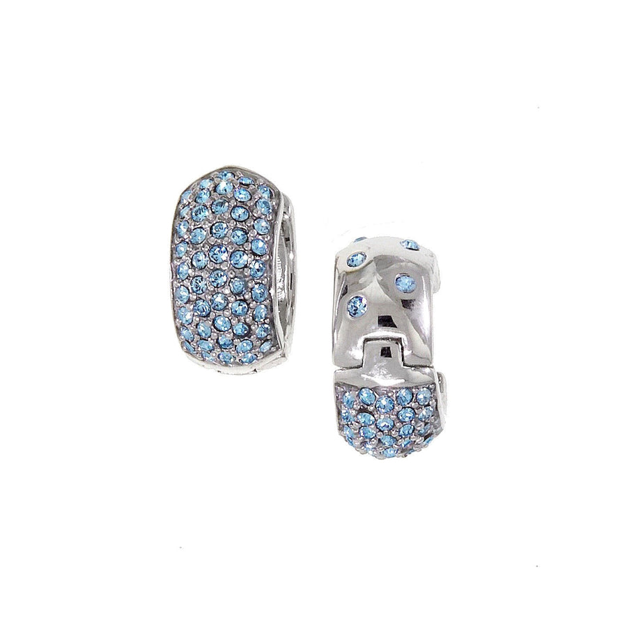 Medium Reversable Huggies with Light Blue Swarovski Crystals by Bobby Schandra