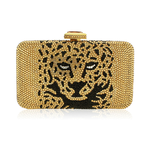 Bronze Leopard Swarovski Crystal Evening Clutch