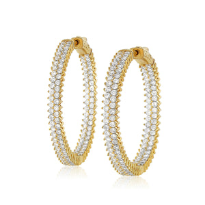 Large Gold Diamond Hoop Earrings w/Double Row Chandi Diamonds