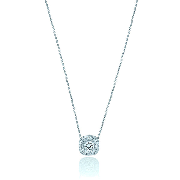 Round Chandi Diamond Circlet Pendant Necklace w/Double Square Halo