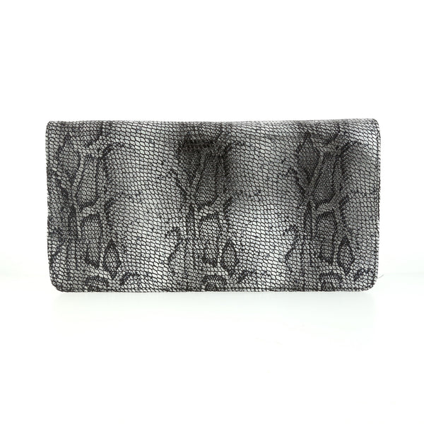 Snake Skin Silver Fold-over Clutch Genuine Leather by Bobby Schandra