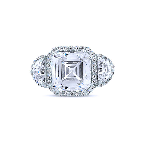 8K Radiant Cut Silver Chandi Diamond Ring w/Half Moon Chandi Diamonds by Bobby Schandra