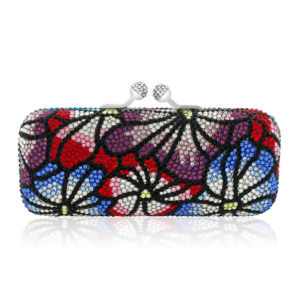 Colorful Flower Swarovski Crystal Evening Clutch