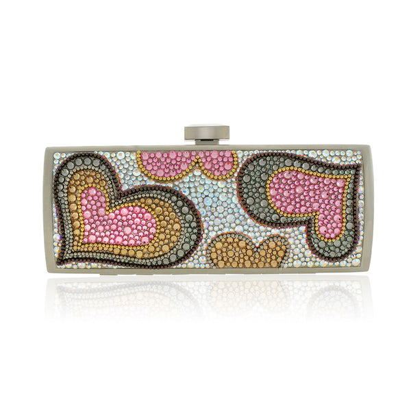 Colorful Heart Swarovski Crystal Evening Clutch by Bobby Schandra