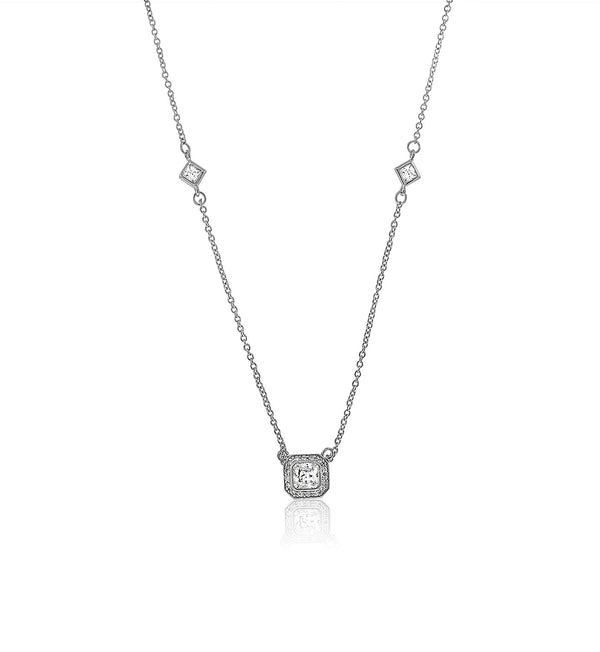 Cushion Cut cz Diamond Solitaire Pendant necklace