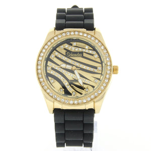 Black and Gold Zebra Bling Watch