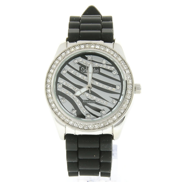 Black and Silver Zebra Rubber Bling Watch