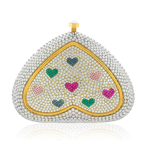 Delicate Heart Swarovski Crystal Evening Clutch