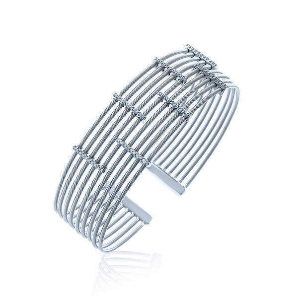 Sterling Silver Multi Bar Chandi Diamond Bolted Cuff by Bobby Schandra